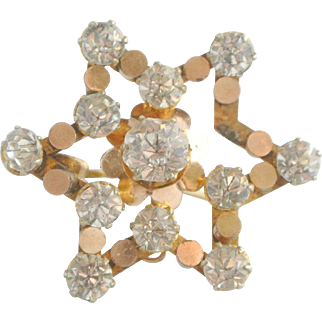 Victorian Gold Filled Crystal Star Brooch Pin