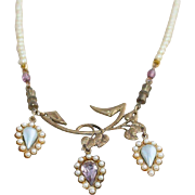 Vintage Pastel Yellow Pearl and Amethyst Leaf Costume Choker Necklace
