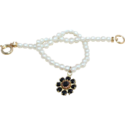 Vintage Child's Pearl Flower Charm Bracelet