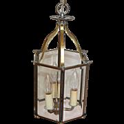 1920's Vintage Brass Beveled Hexagon Glass Hanging Lantern