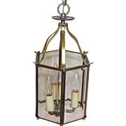 1920's Vintage Brass Beveled Hexagon Glass Hanging Lantern