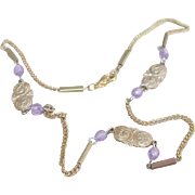 Vintage Costume Amethyst ID Choker Necklace