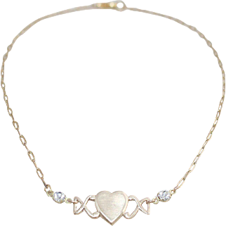 Charming Vintage Heart ID Costume Necklace on Chain