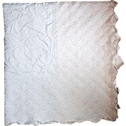 19th Century Victorian Marseille Matelasse White Bed Coverlet