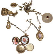 Fabulous Vintage Charm Necklace with 4-Way Locket