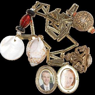 Vintage Shell, Wood & Topaz Locket Charm Necklace