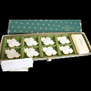 Vintage Lenox Tiara Porcelain Place Card Holders, 22K Rims, S/9