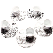 Vintage Altenkunstadt German Porcelain Black & White Shot Glasses & Saucers, Set 5