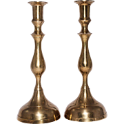 Large Brass Vintage Candle Holders A Pair