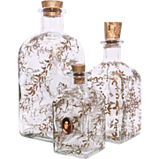 Vintage Hand-Painted Gold Leaf Glass Vanity Bottles, Set of 3