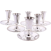 Vintage Sterling Silver Frank M. Whiting & Fisher Silversmiths Sterling Cordial Cups & Saucers Set/6
