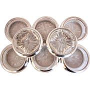 Vintage Sterling Silver and Cut Crystal Beverage Holders/Coasters Set of Eight