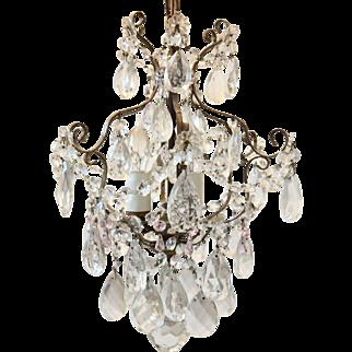 French Antique Art Nouveau Crystal Birdcage Chandelier C.1900-1910