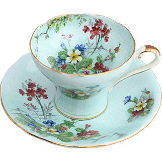 Aynsley England 1940's Porcelain Floral Corset Tea Cup and Saucer