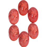 European Coral Glass Cameo Stones in Bag, Set of Six