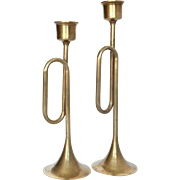 Two Fabulous Vintage Brass Horn Candleholders