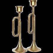 Fabulous Vintage Brass Horn Candleholders - A Pair