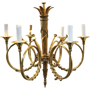 Delightful Vintage French Horn Chandelier
