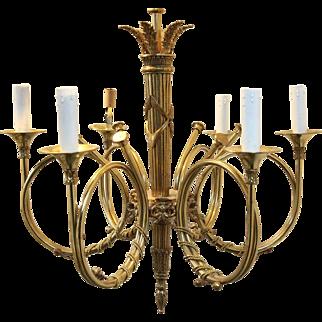 Delightful Vintage French Horn Chandelier