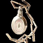 1920's Art Deco Brass Oval Mini Perfumer with Chain
