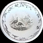 Antique Black & White English Ironstone Serving Bowl