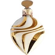 1920'S Art Deco German Gold & Frosted Swirled Glass Lay Down Perfumer