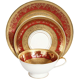Exquisite German Porcelain & Gold Leaf Tea Set Hallmarked DW Porzellan Karlsbader Wertarbeit - Set of 3