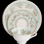 Vintage German Hutschenreuller Aqua Porcelain & Gold Leaf Luncheon Tea Set