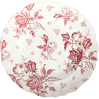 Charmingly Adorable Vintage English Staffordshire Ceramic Tudor Roses Serving Plate