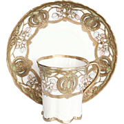 Vintage Noritake Gold Encrusted Porcelain Cup and Saucer - A Pair