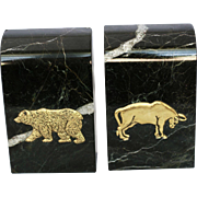 Black Marble Vintage Bull and Bear Stock Market Symbols Bookends - A Pair