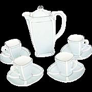1920's Art Deco Noritake Japanese Porcelain Demi Tasse Coffee Set - Service for Four