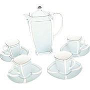 1920's Art Deco Noritake Japanese Porcelain Demi Tasse Coffee Set - Service for Four