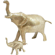 Adorable Vintage Solid Brass Etched Mother Elephant and Baby