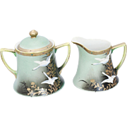 Vintage Japanese Enameled Porcelain and Gold Leaf Cream and Sugar - A Pair