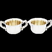 Vintage Sheridan Silver Plate Gold Washed Sugar & Creamer - A Pair