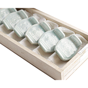 Set of Six Vintage Ceramic Celadon/Aqua Asian Chopstick Rests in Wooden Box