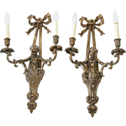 Gorgeous Vintage French-Inspired Gold Cherub Sconces - A Pair