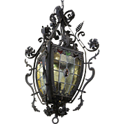 Vintage Art Glass and Wrought Iron Spanish Medieval Inspired Pendant/Chandelier