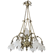 French Antique Bronze Chandelier With Frosted Flower Shades
