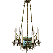 Fabulous Antique Majolica Turquoise Chandelier with Birds & Flowers