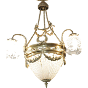 French 19th Century Empire Style Half Circular Crystal & Bronze Chandelier