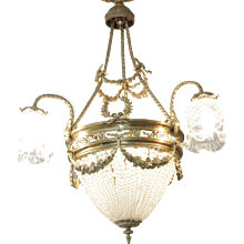 French 19th Century Empire Style Crystal & Bronze Chandelier