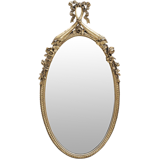 French Inspired Oval Antique Gold Leaf Mirror with Ribbon