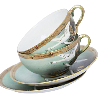 Japanese Enameled Porcelain and Gold Leaf Cups and Saucers - A Pair