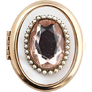 Vintage Mother of Pearl & Pink Oval Stone Box