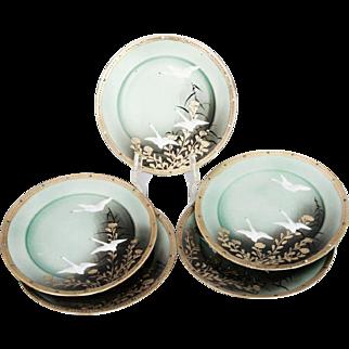 Japanese Enameled Porcelain and Gold Leaf Dessert Plates - Set of 5