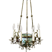 Fabulous Antique French Turquoise Majolica Chandelier with Birds & Flowers