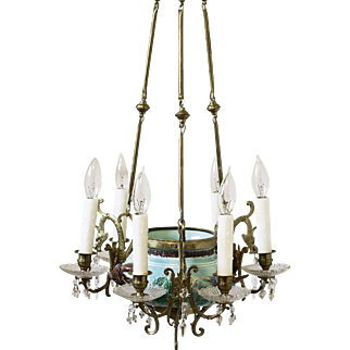 Fabulous Antique Turquoise Majolica Chandelier with Birds & Flowers