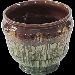 Vintage Brown & Green Ceramic Majolica Cachepot Planter Jardiniere